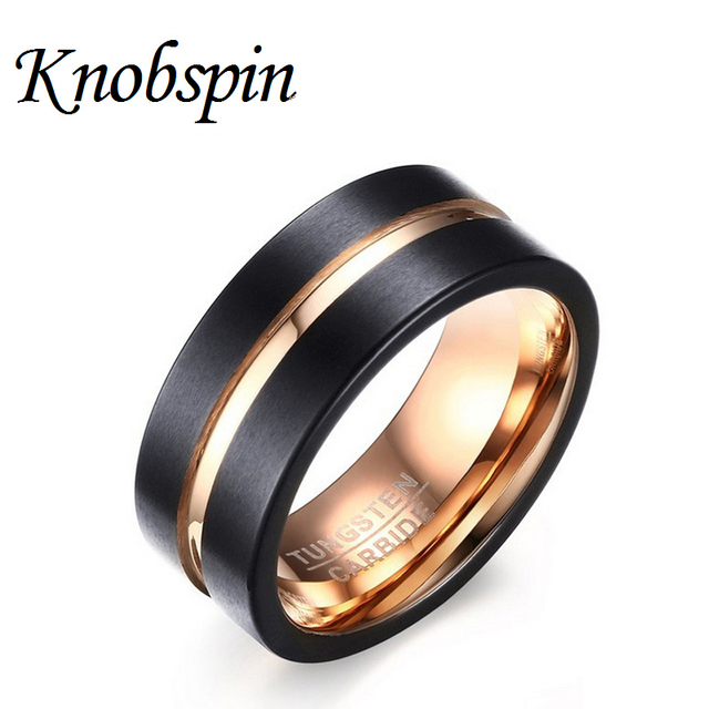 fef4b39b7e6 Black Male Unique Ring Rose Gold color Wedding Band Tungsten Carbide Ring  8mm Man Anniversary Jewelry