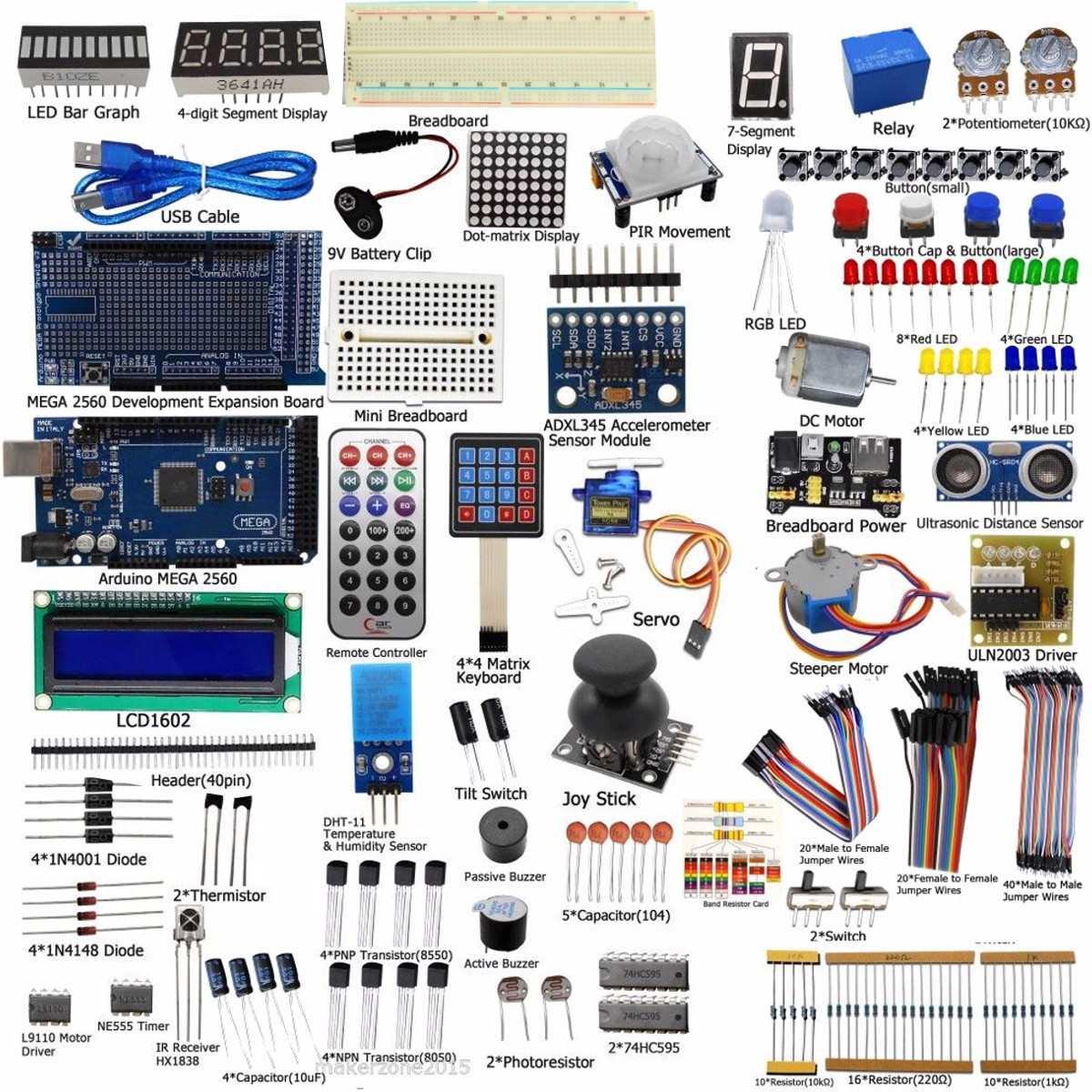 Nouvelle Arrivée BRICOLAGE Électrique Unité Ultime Starter Kit pour Arduino MEGA 2560 1602 LCD Servo Moteur LED Relais RTC Électronique kit