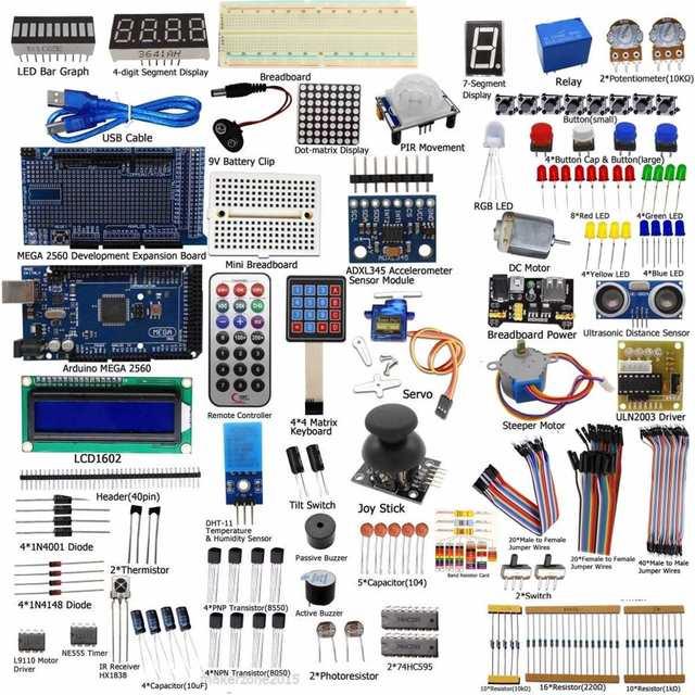 Nova Chegada DIY Elétrica Unidade Final Starter Kit para Arduino MEGA 2560 1602 LCD Servo Motor LEVOU Relé RTC Eletrônico kit