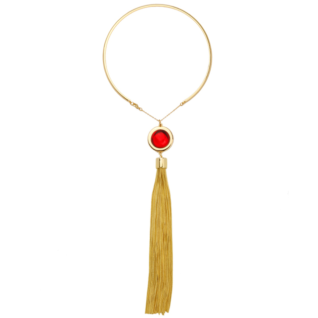 New Design Alloy Gold Plated Tassel Torques Choker Necklace Online Shopping India Unique Imitation Ruby Jewelry Women Gift
