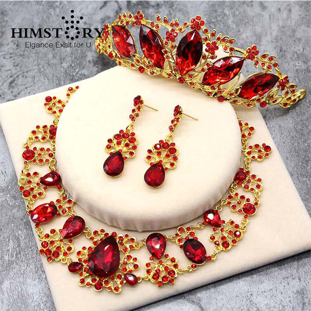 Gorgeous Red Austrian Crystal Wedding Jewelry Waterdrop Floral Crown Hair Comb Tiara Necklace Earrings Set Bridal Jewelry Set