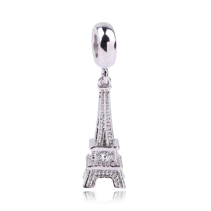 Fashion Hot 925 Silver Eiffel Tower Charm Beads Fit Original Pandora Bracelet Pendants DIY Accessories Women Jewelry eiffel tower charm bangle