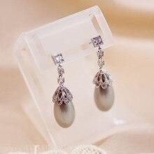 Diseño único Popular largo oval gris claro simulado perla cuelga los pendientes para mujer joyería del partido regalo de cumpleaños