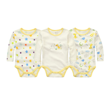 Moms Care Baby Rompers 3 Peices / Lot 100% Cotton Long Sleeve Baby Wear Spring Autumn Infant Jumpsuit Boys Girls Clothes