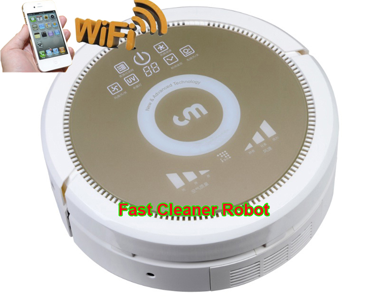 Smartphone WIFI APP Control Wet and Dry Robot Vacuum Cleaner QQ6KDM updated with Air purifier,Water Tank,3350MAH Lithium battery