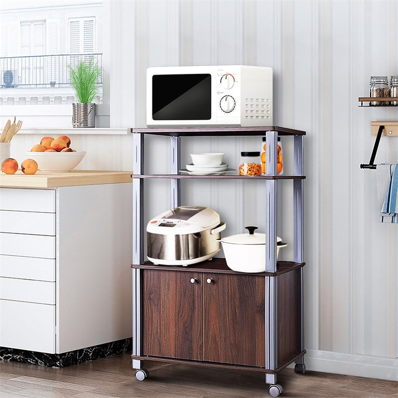 Bakers Rack Microwave Stand Rolling