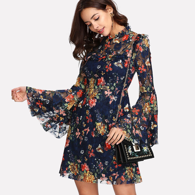 SHEIN Flower Print Swing A Line Summer Dress Long Sleeve Spring Multicolor  Floral Calico Print Keyhole Back Bell Sleeve Dress 2d7d65db36a3