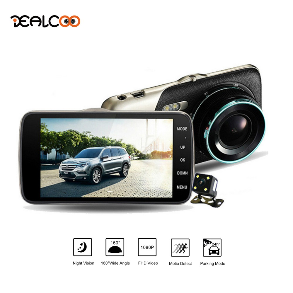 Dealcoo Dash Cam Video Recorder Camera Dual Lens 4 IPS Screen 1080P FHD Support Night Vision/ Motion Detection/G-sensor/Parking