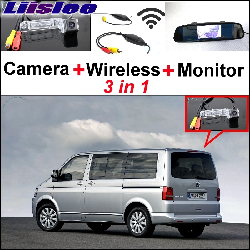 LiisLee Special Camera + Wireless Receiver + Mirror Monitor Parking System For Volkswagen VW T5 Transporter Caravelle Multivan 3 in1 special rear view camera wireless receiver mirror monitor back up parking system for citroen ds3 ds 3 2009 2015