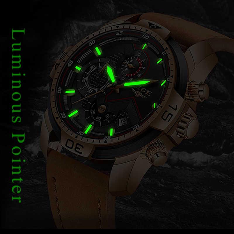 LIGE Mens Saatler Üst Marka Lüks Askeri Spor İzle Erkekler Deri Su Geçirmez Kol Saati Analog quartz saat Relogio Masculino