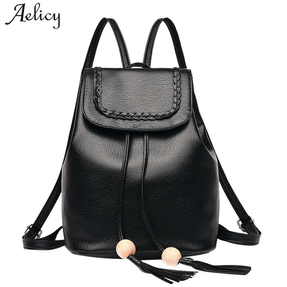 Aelicy Brand Backpack Women Backpacks Fashion Small School Bags for Girls  Black Scrub PU Leather Female Backpack Sac A Dos-in Backpacks from Luggage    Bags ... e1073c8e31919