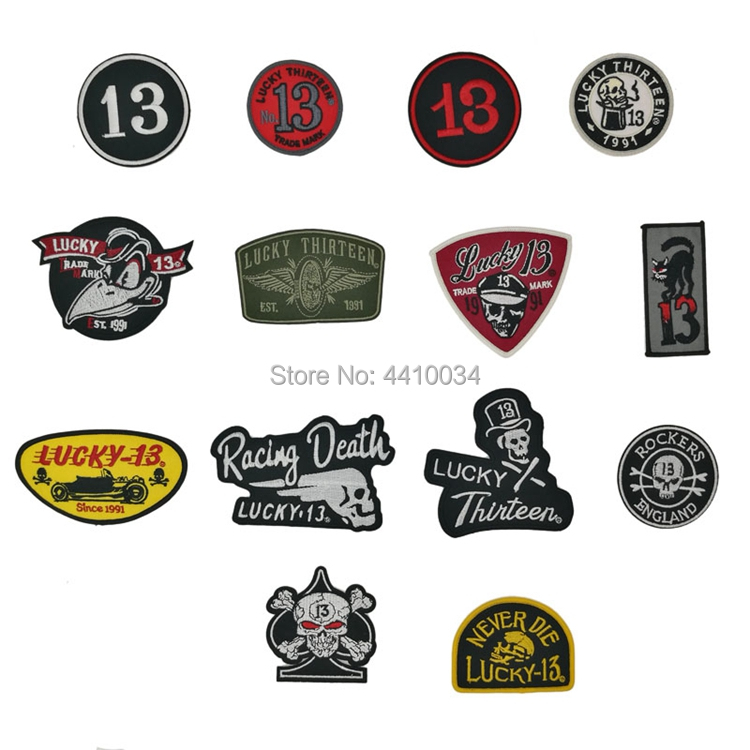 Iron On Patch Lucky 13 Smoker 13 Embroidered Biker Tattoo Motorcycle Sew On