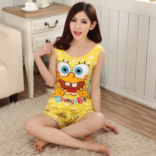 Primavera verão 2016 mulher colete conjuntos de pijama bob esponja calções pijamas de algodão sem mangas colete macacão para adultos