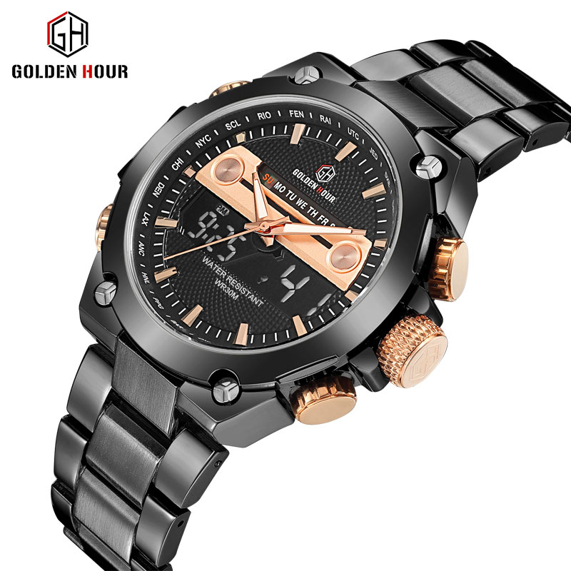 GOLDEN HOURS Top Brand Luxury Digital Dual Time Watch Men Metal Strap 2 Time Zone Calendar Chic Military Waterproof Wristwatches jam tangan pria gold original
