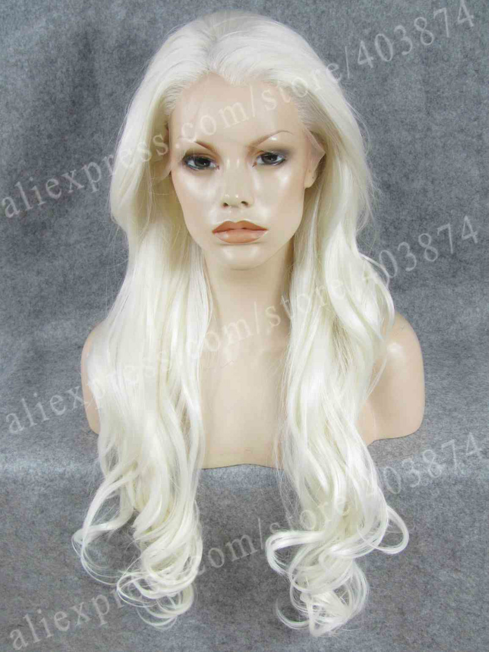 ФОТО Drag Queens Long Body Wavy Cosplay Synthetic White Lace Front Wig