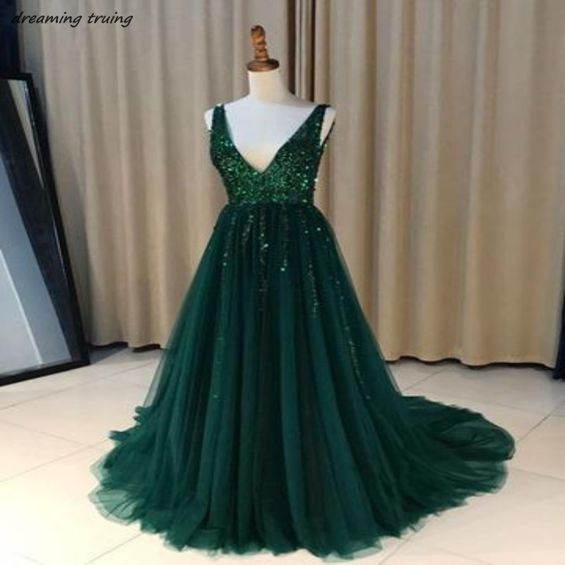 Emerald Green Evening Dresses With Bling Sequined Deep V Neck Off ...