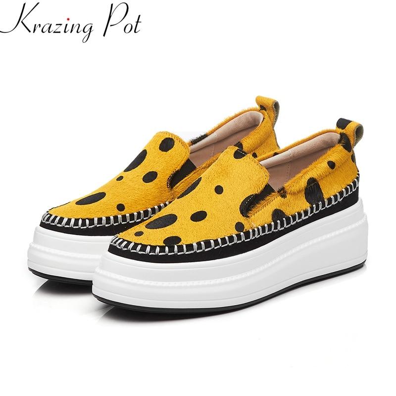 Krazing Pot 2019 superstar marca primavera zapatos slip on casual loafer punta redonda zapatillas cuñas plataforma Mujer Zapatos vulcanizados L05-in Zapatos vulcanizados de mujer from zapatos    1