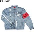 424 КУРТКИ Марка Kanye Джинсовая Куртка Хип-Хоп Разорвал Негабаритных Джинсовые Джинсовая Куртка СТРАХ БОЖИЙ Kanye Куртки Пальто SMC0280-5