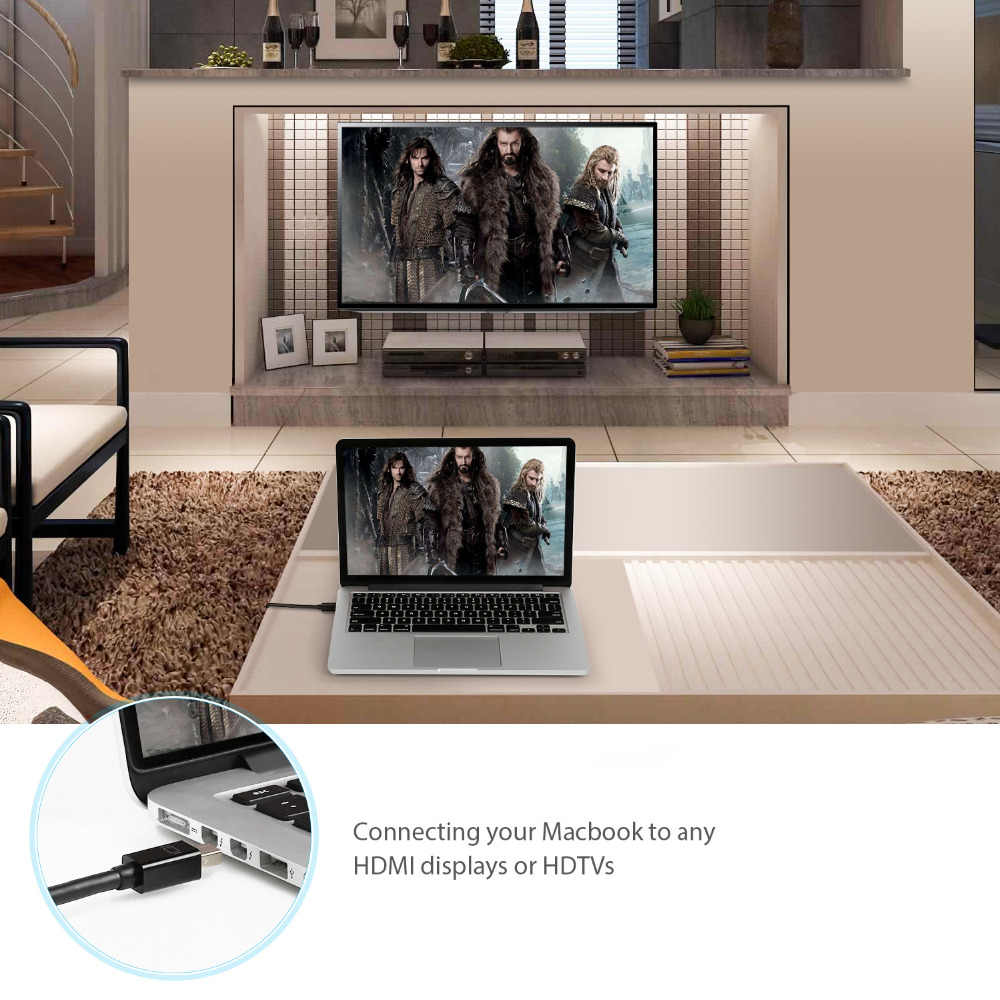 ICZI البسيطة موانئ دبي كابل وصلة بينية مُتعددة الوسائط وعالية الوضوح الصاعقة إلى HDMI الذهب مطلي محول للحاسوب النقال برو الهواء العارض كاميرا التلفزيون 1m
