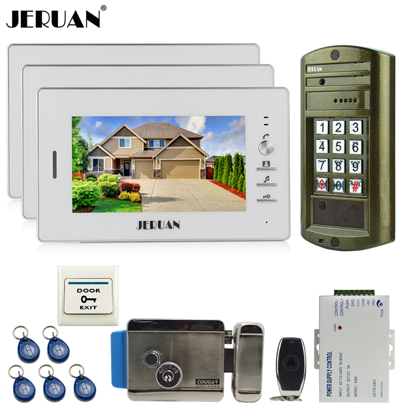 JERUAN NEW 3 Monitor +Metal panel Waterproof Access Password keypad HD Mini Camera 7 inch Video Intercom Door Phone System kit jeruan wired 7 inch video doorbell intercom door phone system kit new metal waterproof access password keypad hd mini camera 1v3