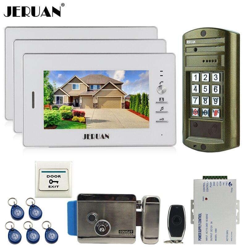 JERUAN NEW 3 Monitor +Metal panel Waterproof Access Password keypad HD Mini Camera 7 inch Video Intercom Door Phone System kit
