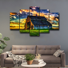 5 pieces wall art canvas paintings posters grassland house spray painting for living room bedroom home decoration