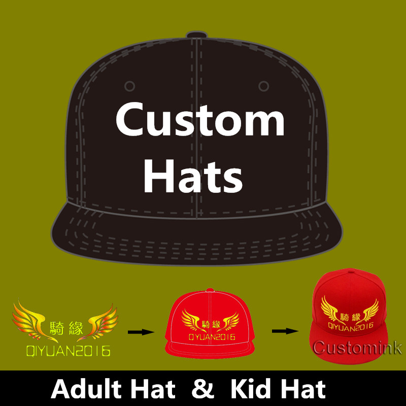 Wholesale 10PCS/LOT Personalized Snapback Cap Custom Baseball Hat trucker cap Adult Children size Embroidery Logo Text