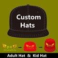 Atacado 10 PÇS/LOTE Personalizado Cap Snapback Chapéu para Mulheres Adultas Dos Homens Crianças Livre Do Bordado Do Logotipo do Texto