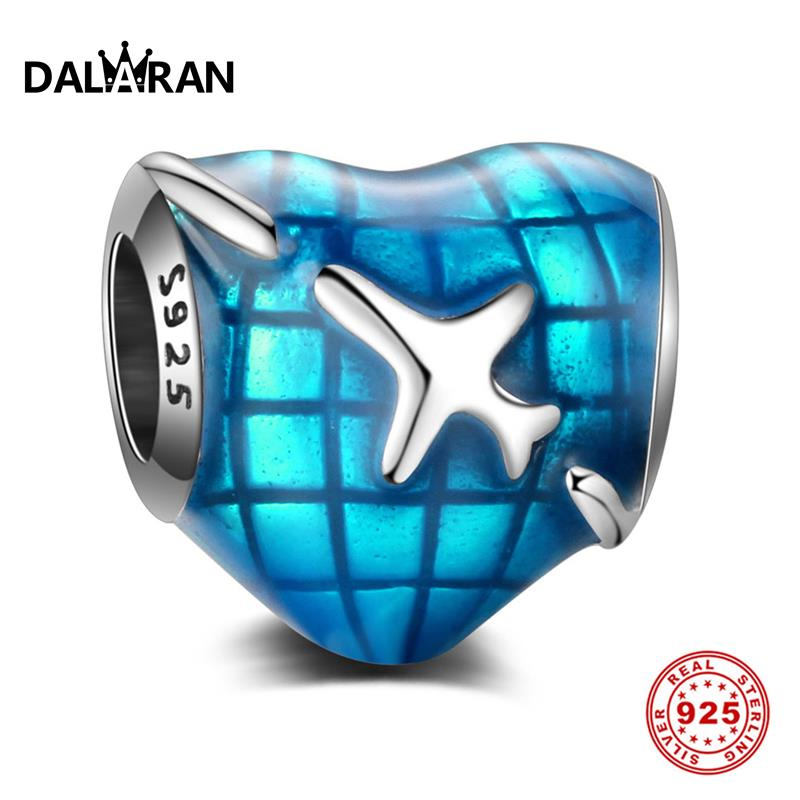 DALARAN Blue Aircraft Heart Shape Charms 925 Sterling Silver Enamel Beads Fit Charm DIY Bracelet Necklace For Women Jewelry GiftDALARAN Blue Aircraft Heart Shape Charms 925 Sterling Silver Enamel Beads Fit Charm DIY Bracelet Necklace For Women Jewelry Gift