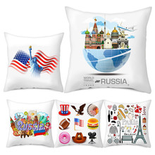 Fuwatacchi World National Flag Printed Cushion Covers USA France Building Painted Throw Pillow Home Sofa Decorative New