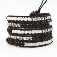 Fashion Charm Long Leather Multi-layer Bracelet European And American Semi-precious Beaded For Women Men Jewelry