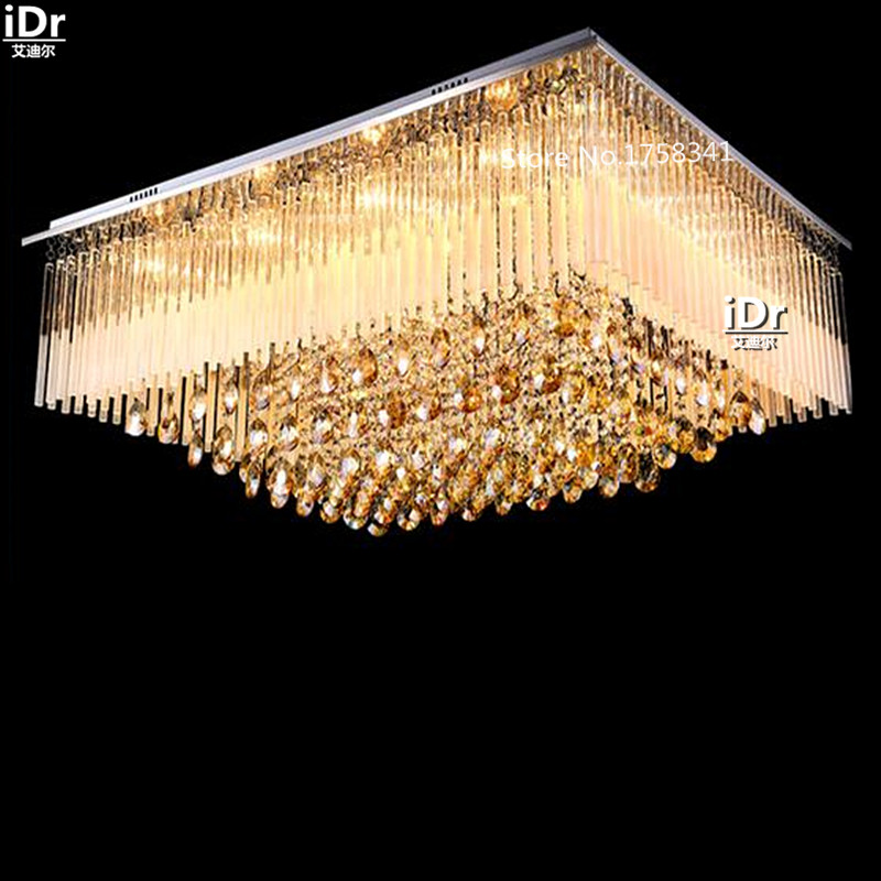 LED lights crystal lamp living room lamp Vintage minimalist bedroom lamp rectangular lighting Ceiling Lights L900xW700xH390mm traditional crystal lamp golden circular living room lamp lighting luxury bedroom lamp led patch ceiling lights lmy 080