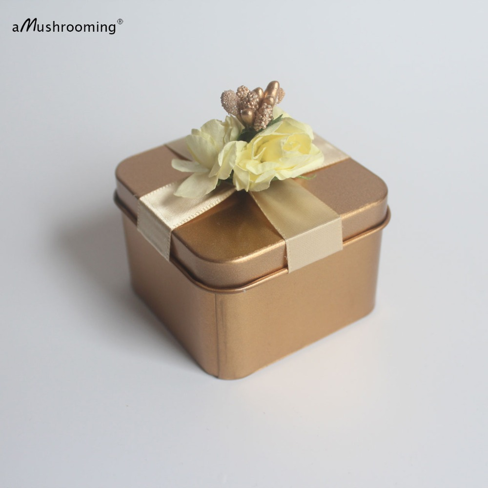 100 Square Gold Candy Favor Boxes Wedding Favor Tin Boxes