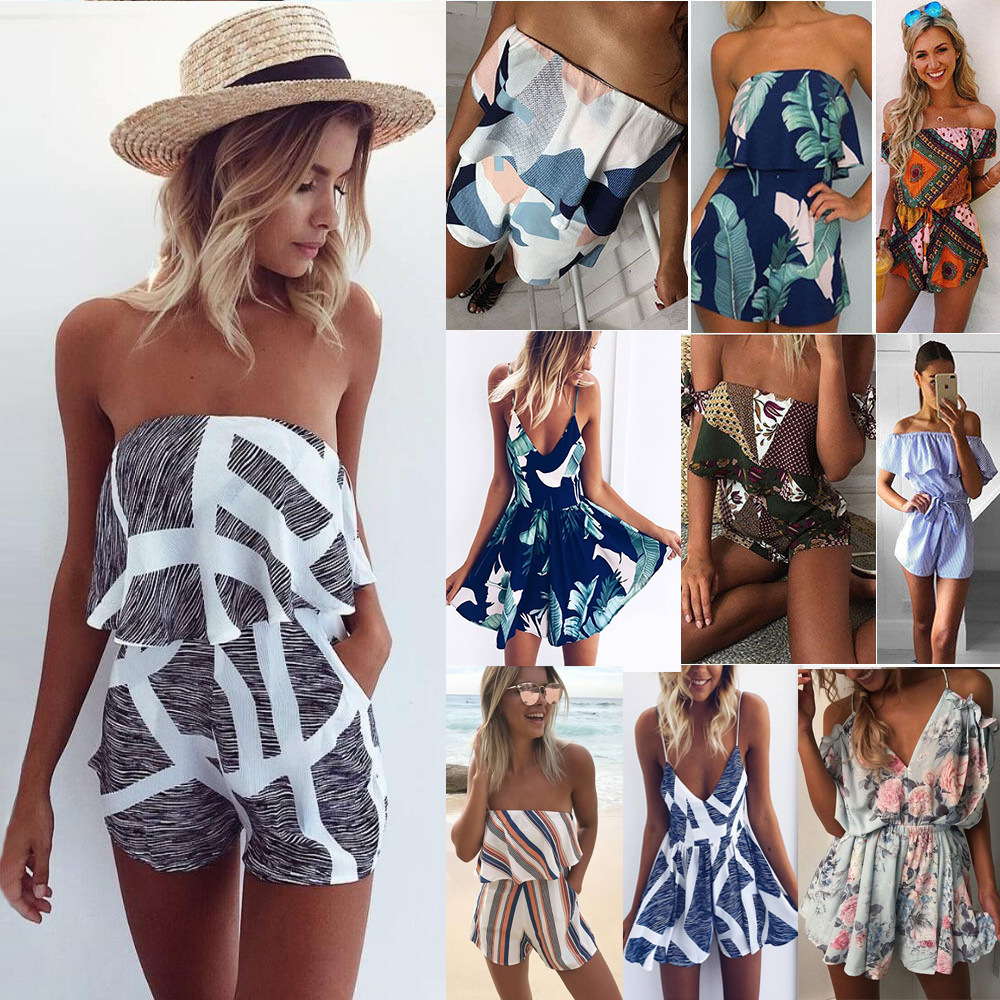 Print Jumpsuits Girls Casual Sexy Playsuit Overalls Fashion Ruffles Slash Neck Beach Playsuits Off Shoulder Summer Women