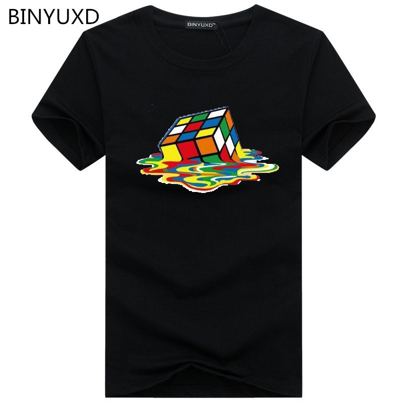 2018 Summer New Men   T  -  Shirts   The Big Bang Theory Printed Stylish Design Rubik Cube   T     Shirts   Casual 100% Cotton Short Sleeve Tees