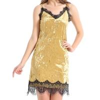 2017 Spring Summer American Style Sexy Skirt Lace Eyelashes Stitching Dress Skirt Gold Velvet Lady Dress