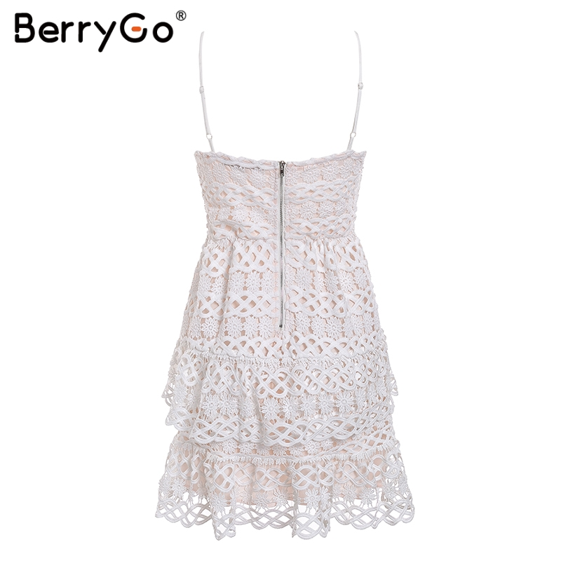 BerryGo Women white lace dress party spaghetti strap Embroidery ruffle sexy dress V-neck hollow out summer dresses ladies 19 19