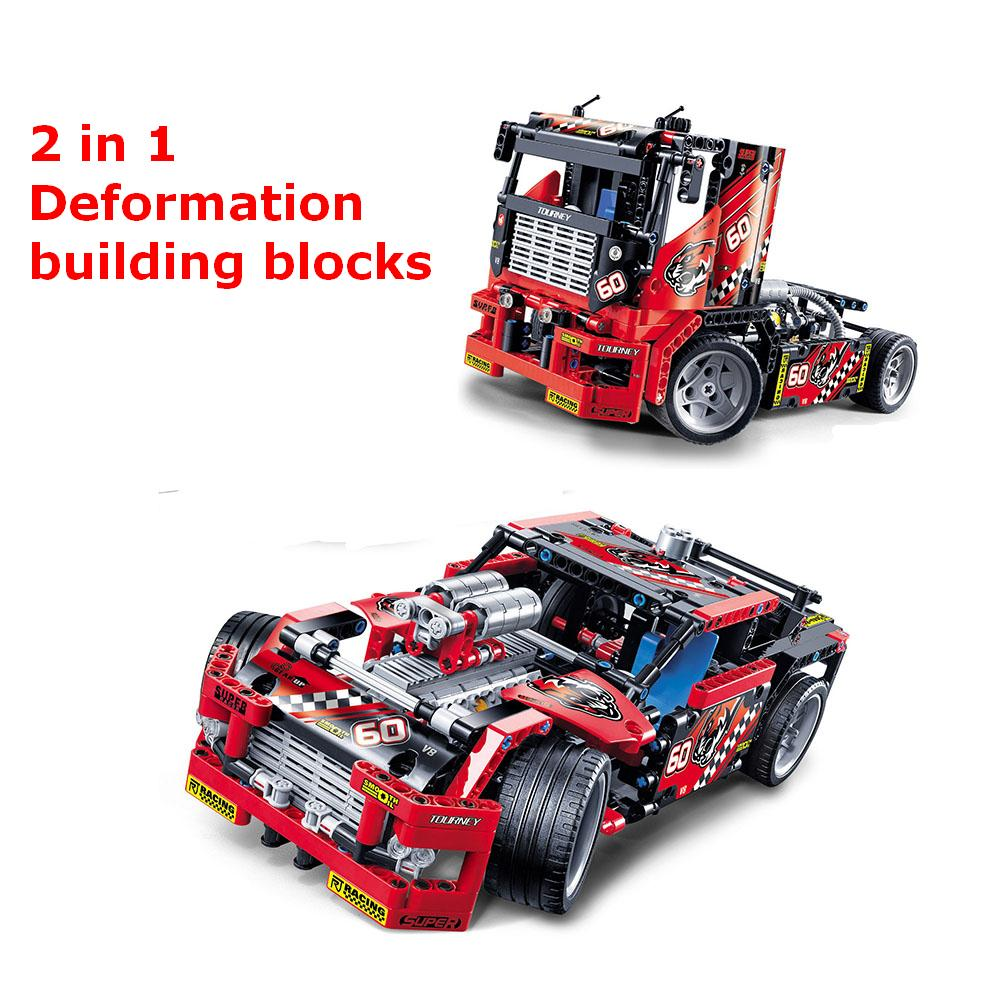 2 in 1 Deformation Building Blocks Race Truck building bricks blocks New year Gift Toys for children boys Model Car Bela new original kazi 6409 city truck model building blocks sets 163pcs lot deformation car bricks toys christmas gift toy sa614