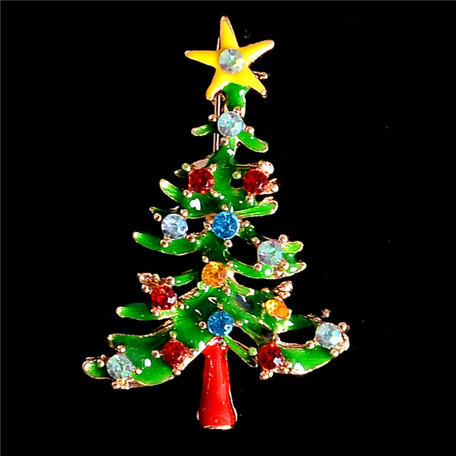 H:HYDE Fine Shipping Hot Christmas Tree Crystal Brooches Pins Christmas Fashion Jewelry