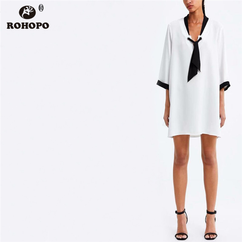 ROHOPO Half Sleeve Autumn Black White Straight Tie Collar Patchaork Linen Cotton Baggy Preppy Girl Mini Cute Vestido XZ1928D in Dresses from Women 39 s Clothing