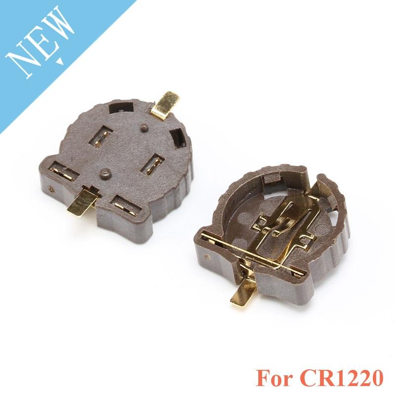 Suporte da bateria botão CR1220 pçs/lote 20 3V botão suporte da bateria SMD pacote chapeamento de temperatura