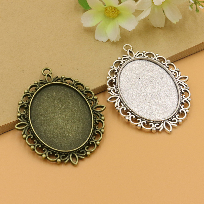 bb0a6db25 10pcs Inner 30*40mm Antique Bronze Silver Alloy Oval Cabochon Base fit  Glass Cabochon for DIY Jewelry Making Blank Settings