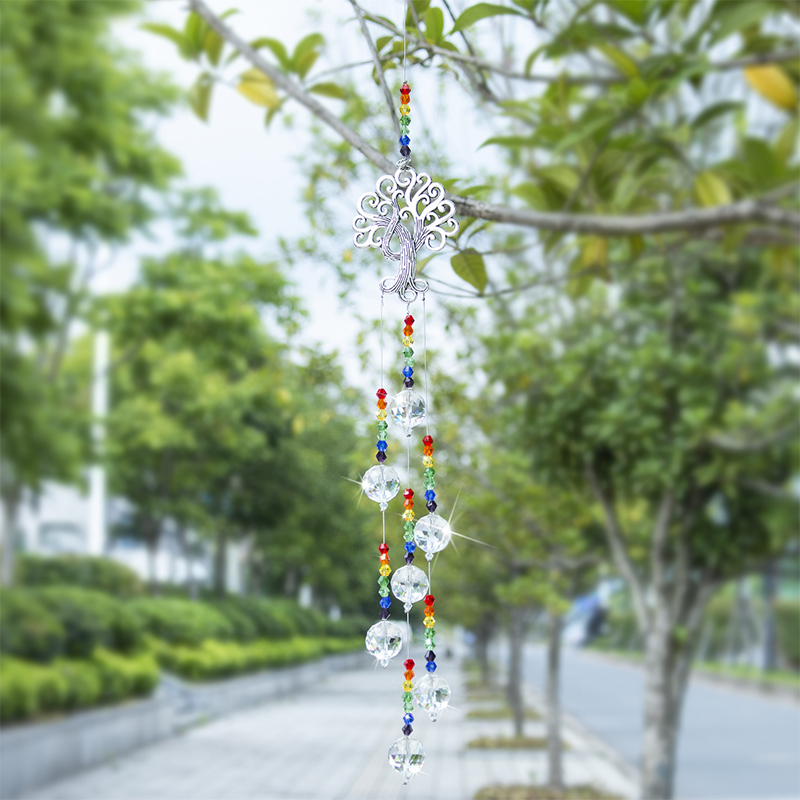 H&D Crystal Suncatcher Chakra Colors Beads Prism Tree Of Life Window Hanging Ornament Rainbow Sun Catcher Home Wedding Decor