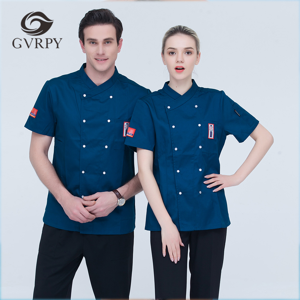 High Quality Women Men Short-sleeves Embroidery Double Breasted Kitchen Work Chef Jacket Catering Restaurant Cake Bakery Uniform