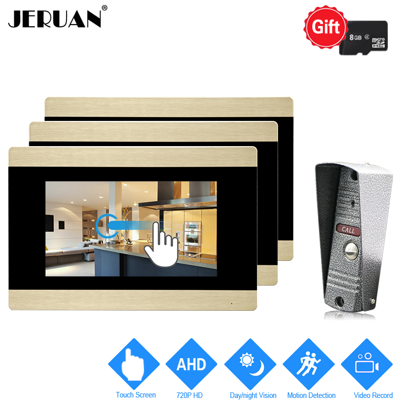 JERUAN 720P AHD HD Motion Detection 7`` Touch Screen Video Doorbell Unlock Intercom System 3 Record Monitor + IR Mini Camera 1V3 jeruan 720p ahd motion detection 7 touch screen video door phone doorbell intercom system 2 record monitor hd ir mini camera