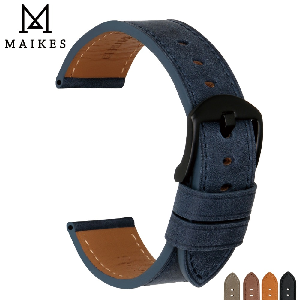 MAIKES Genuine Cow Leather Watchband Watch Accessories Blue Strap Watch Bracelet Watch Band 22mm 24mm Watchband For Fossil