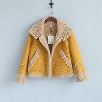 Winter Vintage Women Jackets Coats Yellow Red Khaki Faux Suede Thicken Fleece Warm Overcoat Short Outwear