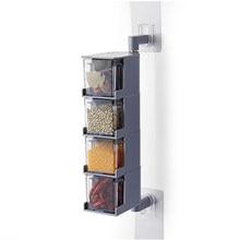 Parede-montado condimento caixa de armazenamento cozinha condimento spice jar rotação criativa classificação sal açúcar msg armazenamento de cozinha