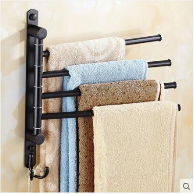 New And Brief 4 Swivel Towel Bars Copper Wall Mounted Black Bathroom