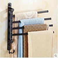 New and brief 4 Swivel Towel Bars Copper Wall Mounted Black Bathroom Towel Rail Rack Bathroom Towel Holder Folding Towel Hanger